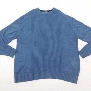 Oscar de la Renta 2XL Blue Crewneck Sweater  Cotto